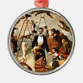 Vintage Trained Circus Dog Act Trick Dogs1899 Metal Ornament