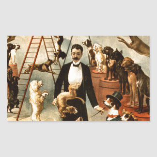 Vintage Trained Circus Dog Act Trick Dogs1899 Rectangular Sticker