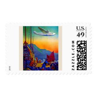 Vintage Transpacific Flight Air Travel Postage