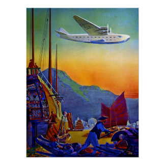 Vintage Transpacific Flight Air Travel Poster