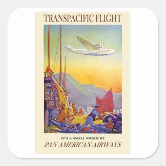 Vintage Transpacific Flight Square Sticker