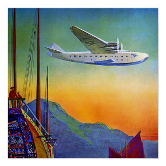 Vintage Transpacific Flight Travel Perfect Poster