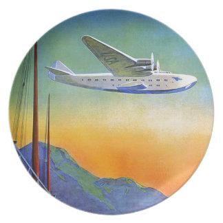 Vintage Transpacific Travel Melamine Plate