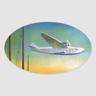 Vintage Transpacific Travel Oval Sticker