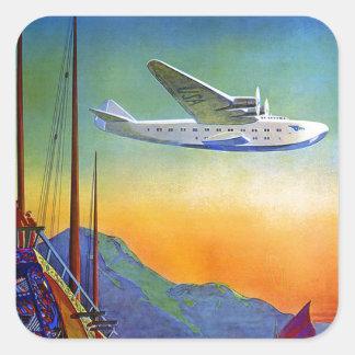 Vintage Transpacific Travel Square Sticker