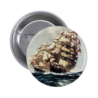 Vintage Transporation Clipper Ship in Rough Seas Pinback Button
