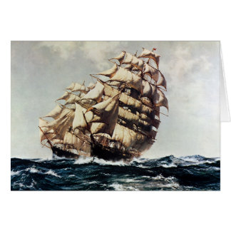 Vintage Transporation, Clipper Ships in Rough Seas Card