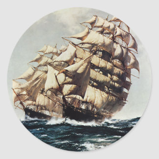 Vintage Transporation, Clipper Ships in Rough Seas Classic Round Sticker