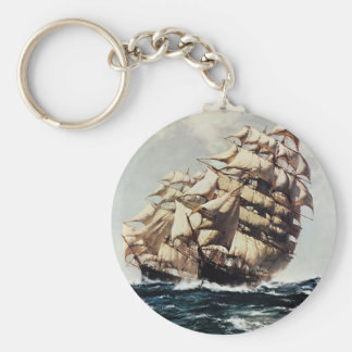 Vintage Transporation, Clipper Ships in Rough Seas Keychain