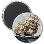 Vintage Transporation, Clipper Ships in Rough Seas 2 Inch Round Magnet
