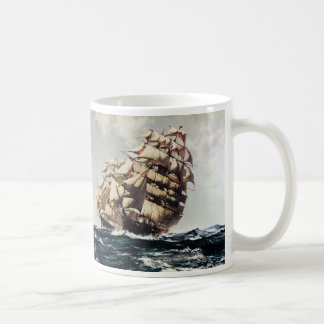 Vintage Transporation, Clipper Ships in Rough Seas Classic White Coffee Mug
