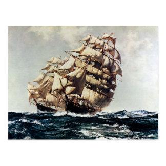 Vintage Transporation, Clipper Ships in Rough Seas Postcard