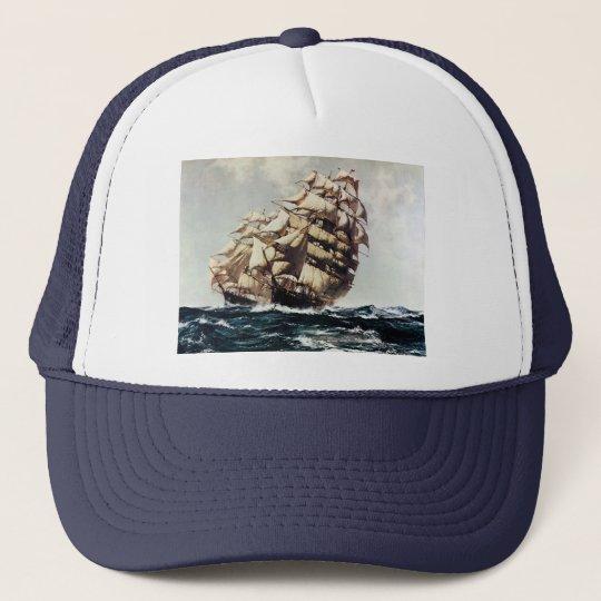 Vintage Transporation, Clipper Ships in Rough Seas Trucker Hat