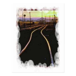 Vintage Transport - Sunset tracks Postcard