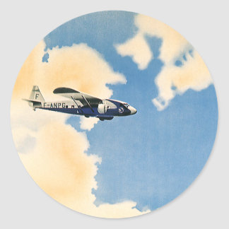 Vintage Transportation, Airplane Flying in Clouds Classic Round Sticker