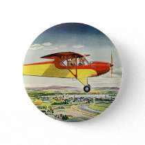 Vintage Transportation Airplane Over Farm Fields Button
