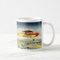 Vintage Transportation Airplane Over Farm Fields Coffee Mug