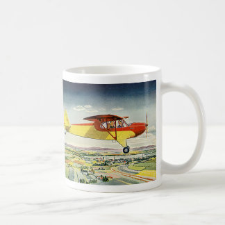 Vintage Transportation Airplane Over Farm Fields Coffee Mug