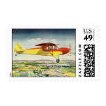 Vintage Transportation Airplane Over Farm Fields Stamps