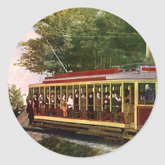 Vintage Transportation and Travel, Trolley People Classic Round Sticker