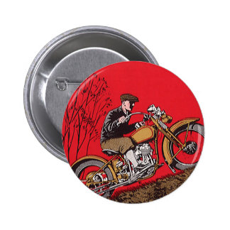 Vintage Transportation, Antique Motorcycle Rider Button