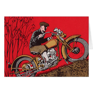 Vintage Transportation, Antique Motorcycle Rider Card