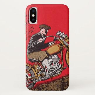 Vintage Transportation, Antique Motorcycle Rider iPhone X Case
