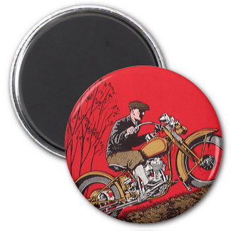 Vintage Transportation, Antique Motorcycle Rider Magnet