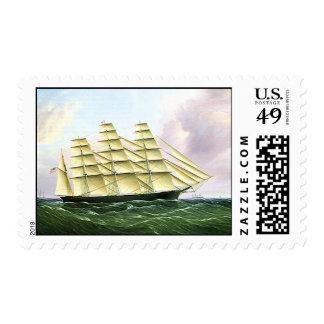Vintage Transportation at Sea, Clipper Ship Stamp