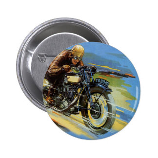 Vintage Transportation, Blue Racing Motorcycle 2 Inch Round Button