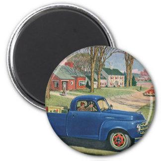 Vintage Transportation, Classic Blue Truck 2 Inch Round Magnet