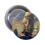 Vintage Transportation, Clipper Ships at Sea Pinback Button