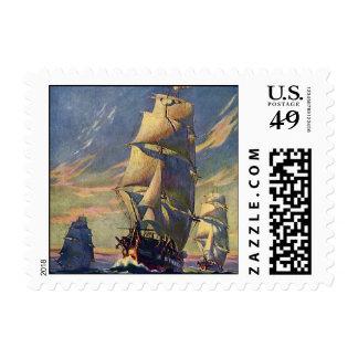 Vintage Transportation, Clipper Ships at Sea Postage Stamps