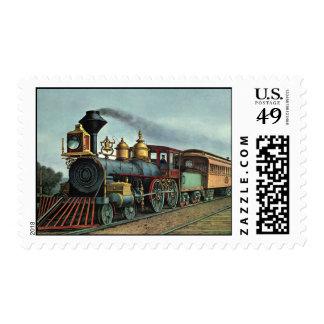 Vintage Transportation, Coal Train Locomotive Postage Stamp