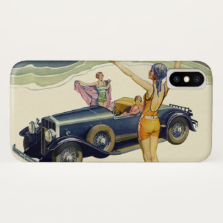 Vintage Transportation Convertible Car on Beach iPhone X Case