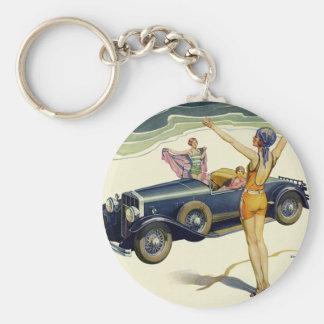 Vintage Transportation Convertible Car Woman Beach Keychain