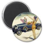 Vintage Transportation Convertible Car Woman Beach Fridge Magnets