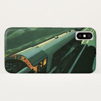 Vintage Transportation, Green Speeding Train iPhone X Case
