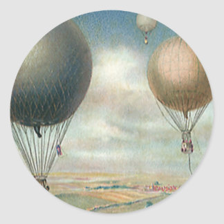 Vintage Transportation Hot Air Balloons, Dirigible Classic Round Sticker
