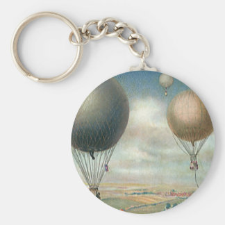 Vintage Transportation Hot Air Balloons, Dirigible Key Chain