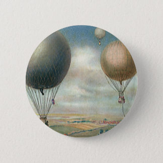 Vintage Transportation Hot Air Balloons, Dirigible Pinback Button
