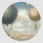 Vintage Transportation Hot Air Balloons, Dirigible Round Stickers