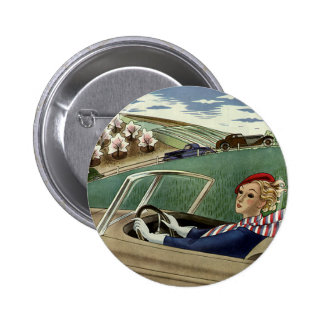 Vintage Transportation, Lady in Convertible Car 2 Inch Round Button