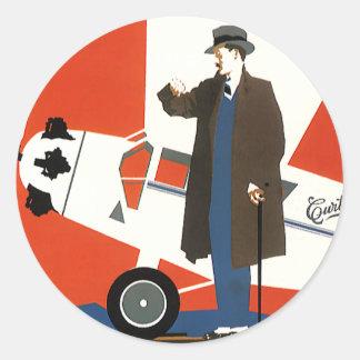 Vintage Transportation, Man and Propeller Plane Stickers