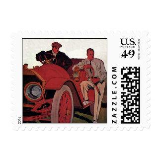 Vintage Transportation Men Antique Convertible Car Postage Stamp