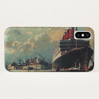 Vintage Transportation Passenger Ship in Harbor iPhone X Case
