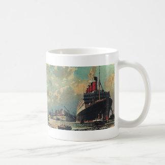 Vintage Transportation Passenger Ship in Harbor Classic White Coffee Mug