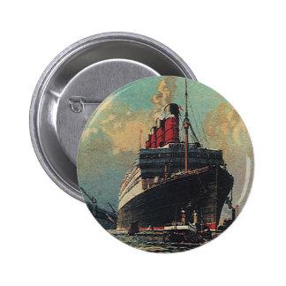 Vintage Transportation Passenger Ship in Harbor Pinback Button