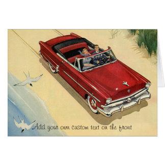 Vintage Transportation, Red Convertible Car Beach Card
