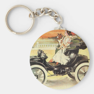 Vintage Transportation, Woman in Convertible Car Keychain